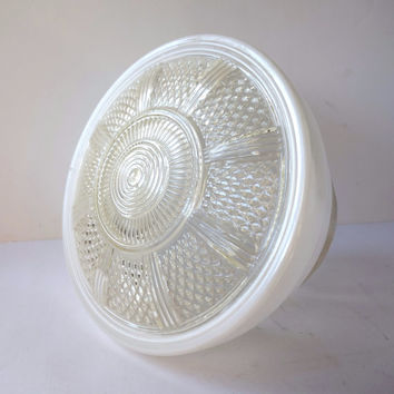 Art Deco Ceiling Light Glass Shade Vintage Frosted Globe Schoolhouse Salvage