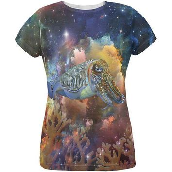 DCCKJY1 Cuttlefish IN SPACE All Over Womens T-Shirt
