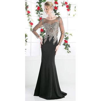 CLEARANCE - Long Sleeves Mermaid Prom Gown Appliqued Bodice Black (Size 10)
