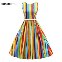 S-3XL Rainbow Stripes Print Sleeveless Midi Summer Dress 2017 Brand Rockabilly vestido de festa Plus Size Women Party Dresses