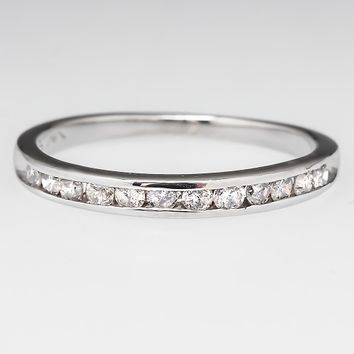 Channel Set Diamond Wedding Band Ring Half Moon 18K White Gold