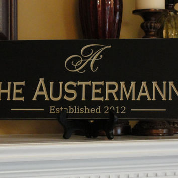 Personalized Engraved last name sign Family by michaelswoodworks