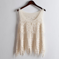 Crochet Floral Lace Embroidery Boho Tank Tops Blouses