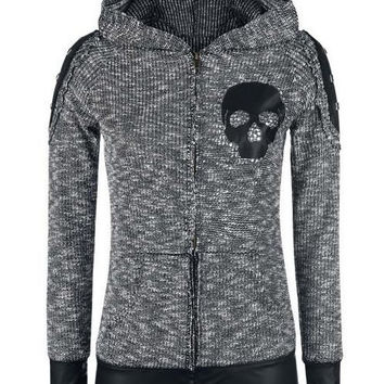 Stylish Hooded Skull Printed Faux Leather Spliced Zip Up Hoodie For Women FREE SHIPPING !!!