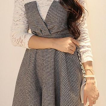 Streetstyle  Casual Grey Plaid Patchwork False 2-in-1 Lace Long Sleeve Dress