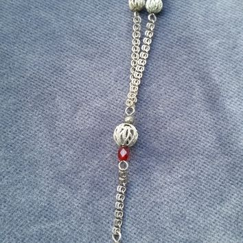 Antique sterling silver chain mail lariat Y necklace with deep ruby red glass faceted beads