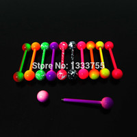 new arrival 1 Pair 1.6*19*6/6mm surgical Stainless Steel neon colors piercing tongue barbell ring free shipping