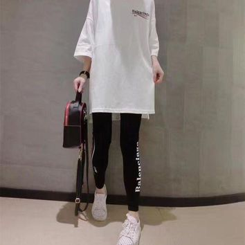 ICIK6HW Balenciaga' Women Fashion Casual Wave Stripe Letter Print Middle Sleeve Leggings Set Two-Piece Sportswear