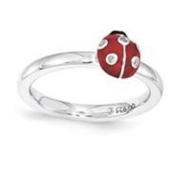 Sterling Silver Red & Black Enamel with Diamond Ring