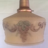 Victorian Antique Reverse Paint Pendant Light 1920s Vintage