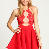 RED MIRRORED LACE FLARE DRESS