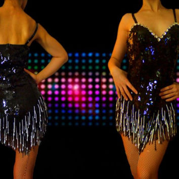 Latin Dance Dress w Black & White Beaded Fringe [SGP4Q] - $405.00 : Latin dance wear, ballroom dance shoes, latin dance skirts & Salsa dresses.