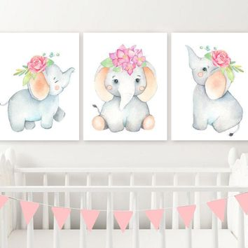 Girl Elephant Nursery Wall Decor Canvas or Print Watercolor Baby Girl Elephant Nursery Wall Art, Watercolor Elephant Wall Decor Set of 3