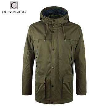 Men Washed Cotton Windbreakers Military Loose Multi-colors Hooded Jackets and Coats with Drawstring