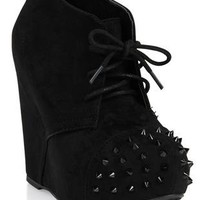 wedge black bootie with laces and spiked toe cap - debshops.com