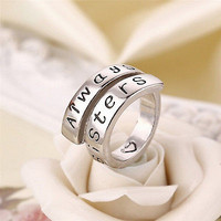 A Pair of Forever Friends and Always Sisters Charm Rings For Best Friends GiftHU