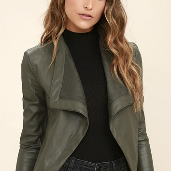 BB Dakota Peppin Olive Green Vegan Leather Jacket