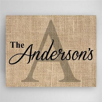 Family Name & Initial Canvas Sign Free Personalization