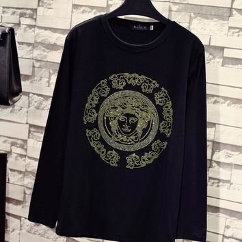 Versace Fashion Women Men Hot Drill Pattern Long Sleeve Top Round Collar Sweater Couple