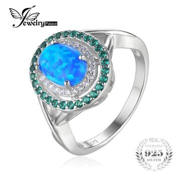 JewelryPalace Fashion 1.2ct Oval Created Opal Inlay Emerald Cocktail Ring Genuine 925 Sterling Silver Vintage Jewelry For Women
