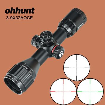 ohhunt 3-9X32 AO Compact Hunting Rifle Scope 1/2 Half Mil Dot Wire Reticle Red Green  Illumination Turrets Locking Optic Sights