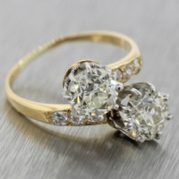 $24500 Vintage Tiffany & Co. 18k Gold 2.96ctw Diamond Bypass Engagement Ring