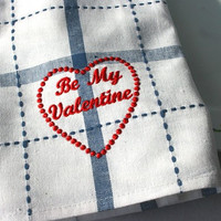 KITCHEN TOWEL Be My Valentine Heart Blue by stitchnation