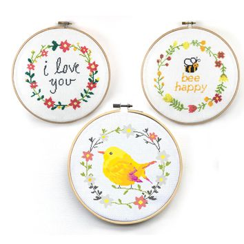 Floral Wreath Cross Stitch Patterns Set - Bee Happy, I Love You, and Bird Floral Wreath