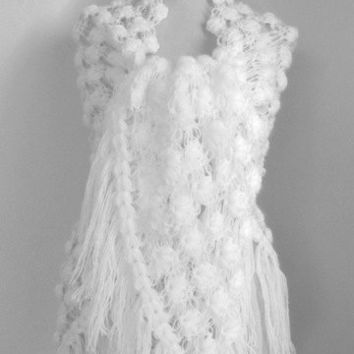 WHITE Crochet  shawl ..wedding bridal shawl.knitting, fashion,shrug,stole, capelet, cream, women, scarflette,