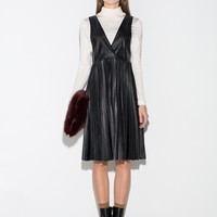 Black Pleated Leather Pinafore Dress