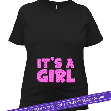 Pregnancy Announcement Shirt Pregnancy Reveal Baby Announcement T Shirt Maternity TShirt Baby Girl Gift ideas It's A Girl Ladies Tee MAT-658