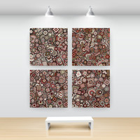 Abstract Art Particle Circle Squares, Set of 4 open edition prints, red-gold, San Francisco artist Kristin Henry. Marsala Red, Sandy Gold