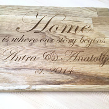 Personalized Engraved Cutting Board - Wedding Gift, Anniversary Gift, Housewarming Gift
