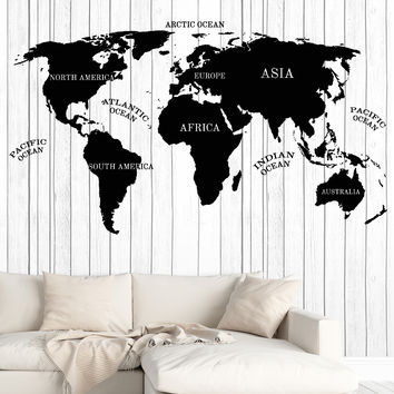 Wall Vinyl Decal World Map Inscriptions Continent Compass Home Decor Unique Gift z4793