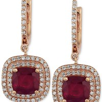 Rosa by EFFY Ruby (2-7/8 ct. t.w.) and Diamond (1/2 ct. t.w.) Drop Earrings in 14k Rose Gold