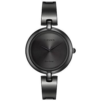 Citizen Eco-Drive Silhouette Bangle Three-Hand Stainless Steel - Black Women's watch #EM0225-84E