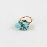 Faux Turquoise Stone Wire-Wrapped Ring