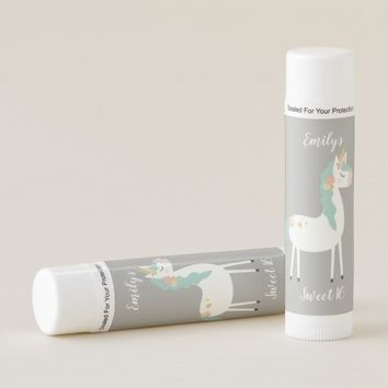 Gold Teal and White Floral Unicorn Sweet 16 Favors Lip Balm
