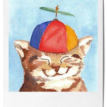 Kitten Watercolor PRINT - Cat Art, Polariod, Beanie Hat, Open edition, 5x7 Print