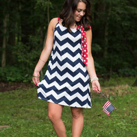 Bow Perfect Dress - Navy/Red