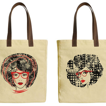 79f241d29016 Art Sketching Girl Face Beige Printed Canvas Tote Bags Leather H