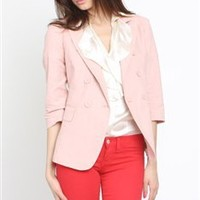 Double Breasted Blazer- Rose Color Blazers- Blazers- $41.99