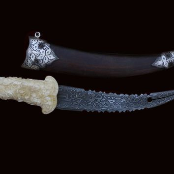 Mughal Hand Carved Handle with an Original Genuine Leather Case ( 10 Inches)