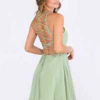 Green Sleeveless Crisscross Lace Up Back Dress