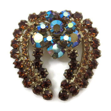 Juliana Jewelry Rhinestone Brooch - D&E, Ab Finish, Costume Jewelry, Topaz and Blue, Delizza and Elster