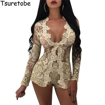 Tsuretobe 2017 Autumn New Gold Embroidery Floral Lace Jumpsuit Women Two Piece Skinny Elegant Playsuits Sexy Rompers Overalls