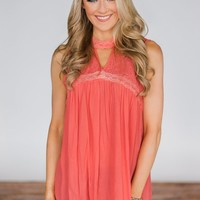 Like I Loved You Lace Tank Top- Coral