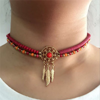 2016 Fashion Dream Catcher Jewelry Boho Handmade Beaded Feather Collar Choker Necklace For Women Bohemian Collier Bijoux