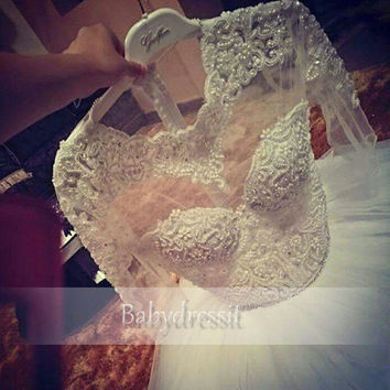 Ball Gown Wedding Dress Half Sleeve See Through Sheer Beaded Pearls Puffy O neck Custom Tulle Real Photo White Wedding Dresses
