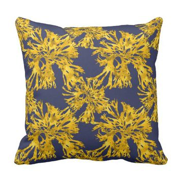Gold Sea Weed Pattern Throw Pillow